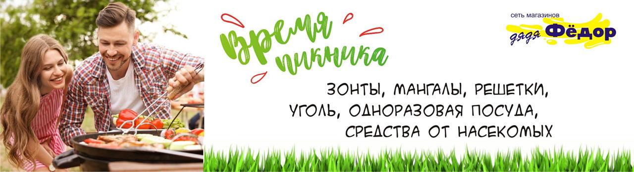 Купить товары для пикника зонт мангал решетка уголь одноразовая посуда средство от насекомых Дядя Фёдор Балаково