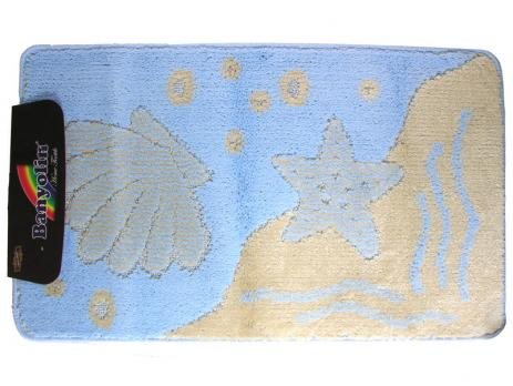 Коврик 55x90 см классик колор Ракушка голубой