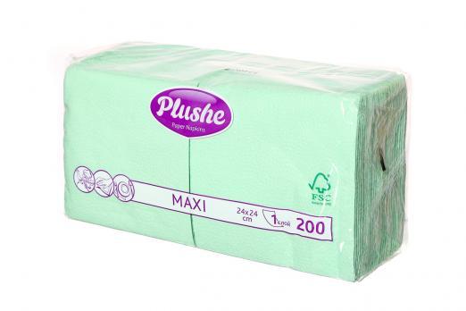 Салфетки Plushe Maxi 1 слой салатовые (200 шт.)