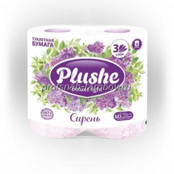 Бумага туалетная Plushe Deluxe 3 слоя сирень (4 шт.)