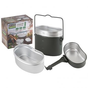 Набор посуды походный алюминиевый 4 предмета (котелок 1,6 л + чаша 0,6 л + подкотельник 0,5 л)