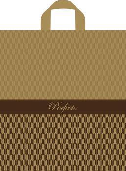 Пакет с петлевой ручкой ПВД 37x40 см Перфекто Плюмаж золотой 95 мкм (1 шт.)