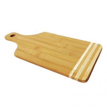 Доска разделочная деревянная 350x160x10 мм с ручкой бамбук