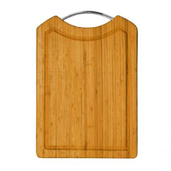 Доска разделочная деревянная 355x255x16 мм со скобой бамбук
