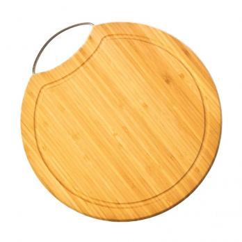 Доска разделочная деревянная d=355 мм со скобой 1,6 см бамбук