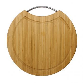 Доска разделочная деревянная d=305 мм со скобой 1,6 см бамбук