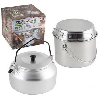 Набор посуды походный алюминиевый 2 предмета (котелок 3 л + чайник 1 л)