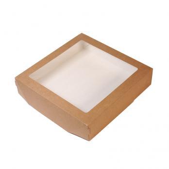 Одноразовая коробка 20x20x4 см с прозрачным верхом для печенья (1 шт.)