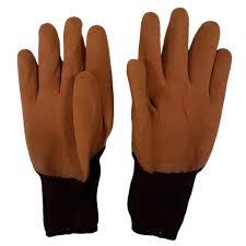 Перчатки нейлоновые с нитрил обливом коричные (1 пара)