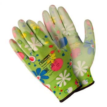Перчатки садовые полиэстер с нитриловым покрытием М053Р (1 пара)