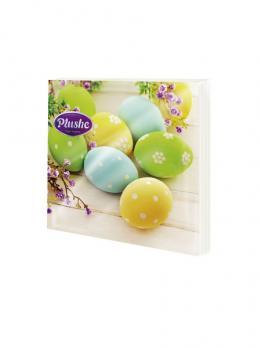 Салфетки Plushe 3 слоя Пасхальные яйца микс (18 шт.)