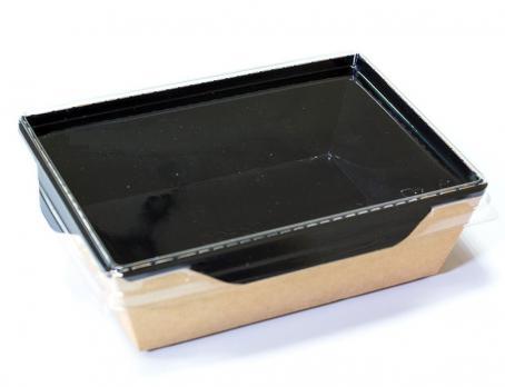 Одноразовый контейнер черный 800 мл прямоугольный с прозрачной крышкой (1 шт.)