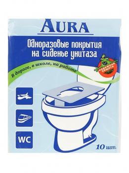Одноразовое покрытие для унитаза бумажное АУРА (10 шт.)