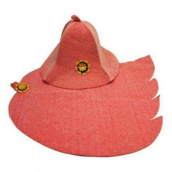 Набор банный женский розовый (шляпа Колокольчик+коврик Лист)