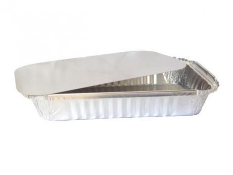 Одноразовый контейнер алюминиевый с крышкой средний (1 шт.)