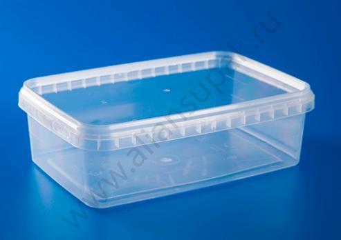 Ведро-контейнер 1 л прозрачное с крышкой (прямоугольное)