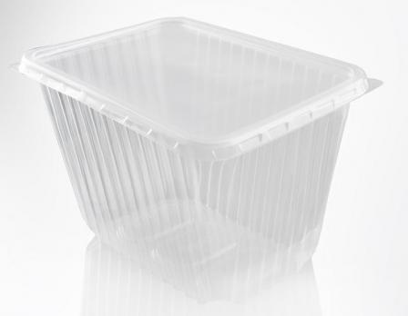 Одноразовый контейнер 2000 мл прямоугольный с крышкой 13x18x12 см (1 шт.)