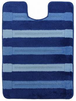 Коврик для туалета U-образный 60x80 см Нифертити Авангард полосатый голубой