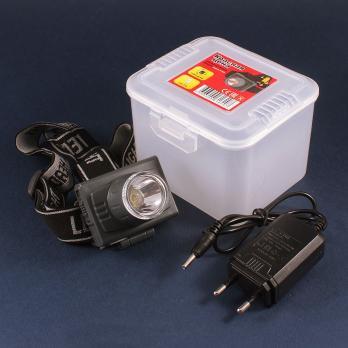 Фонарь светодиодный аккумуляторный КРАСНАЯ ЦЕНА H-360 2W налобный (зарядка от 220В)