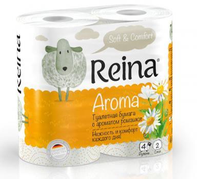 Бумага туалетная Reina двухслойная ромашка (4 шт.)