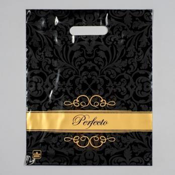 Пакет с вырубной ручкой 30x37 см Перфекто Шайн черный (1 шт.)