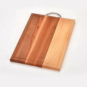 Доска разделочная деревянная 350x250x18 мм со скобой и канавкой бук