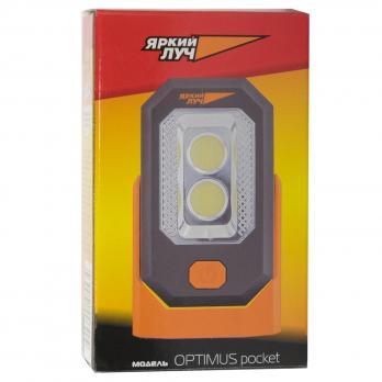 Фонарь светодиодный Яркий луч Оптимус-pocket 0,5W+3W COB магнит