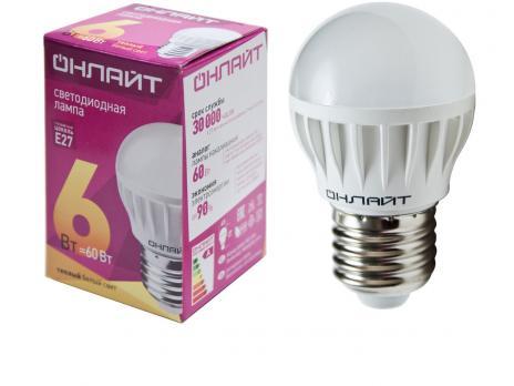 Лампа светодиодная E27 шар Онлайт 6W/А60/G45 /2700 3000K