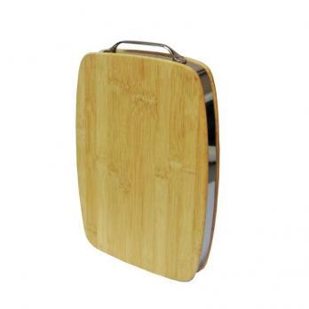 Доска разделочная деревянная 340x240x40 мм с металлическим ободом бамбук