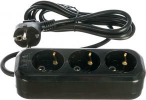 Удлинитель 3 розетки 3 м LUX УЗ-Е-03 с заземлением 16А 250В черный