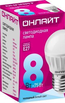 Лампа светодиодная E27 шар Онлайт 8W/G45 4000K