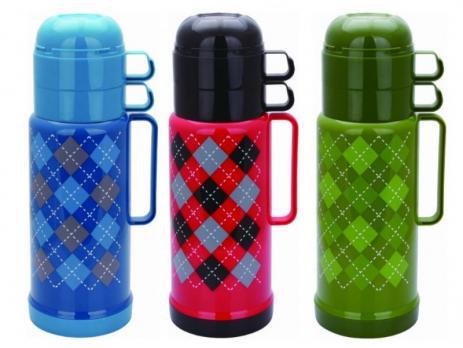 Термос 1000 мл Tartan стеклянная колба 2 чашки цвета в ассортименте