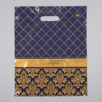 Пакет с вырубной ручкой 30x37 см Перфекто Вензель 90 мкм синий (1 шт.)