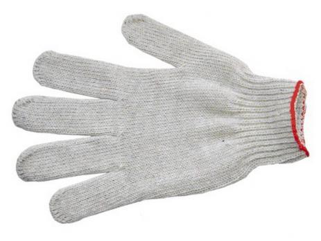 Перчатки х/б 6-8 нитей плотные ПВХ белые/черные (1 пара)