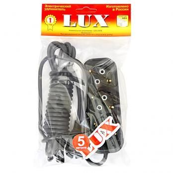 Удлинитель 3 розетки 5 м LUX УЗ-Е-05 с заземлением 16А 250В черный