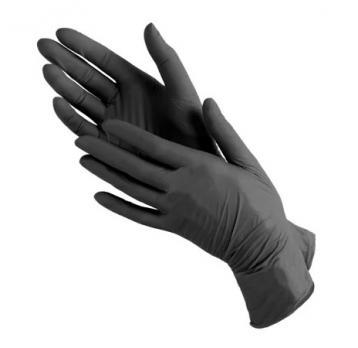Перчатки виниловые черные (1 пара)