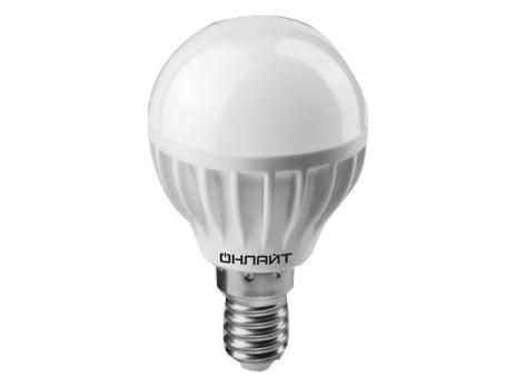 Лампа светодиодная E14 шар Онлайт 6W/А60/G45 4000K