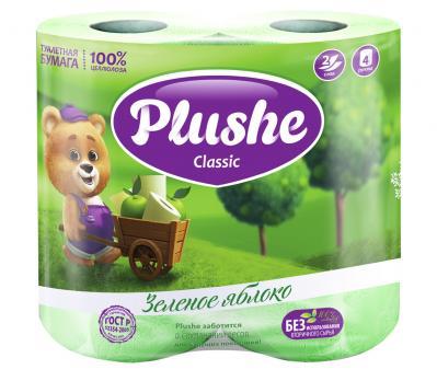 Бумага туалетная Plushe классик двухслойная зеленое яблоко (4 шт.)
